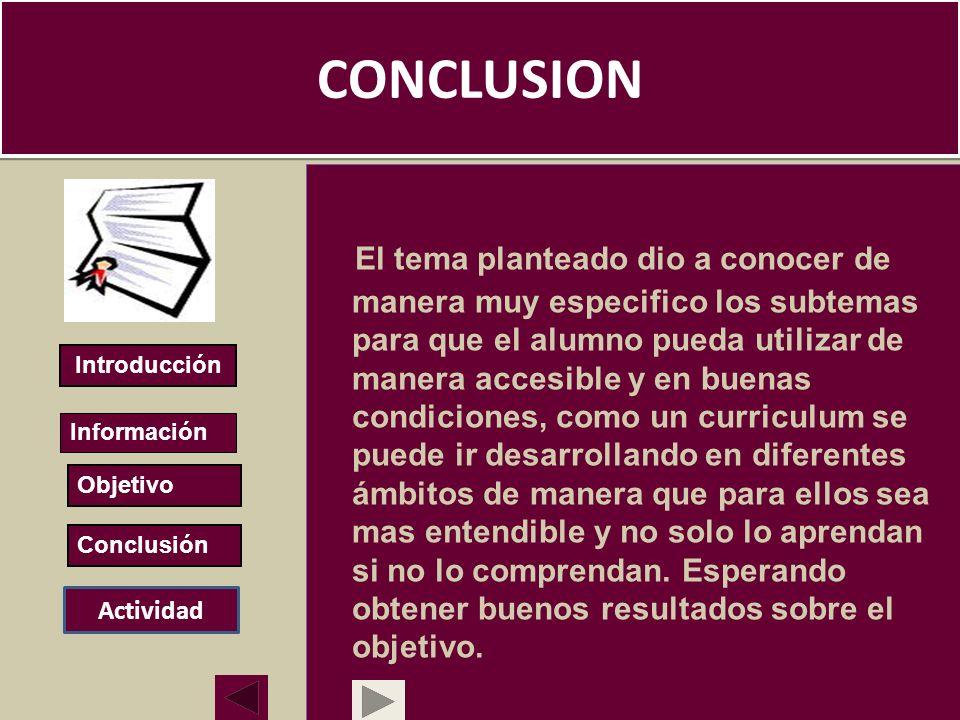 CONCLUSION El tema planteado dio a conocer de manera muy especifico los subtemas para que el alumno pueda utilizar de manera accesible y en buenas con