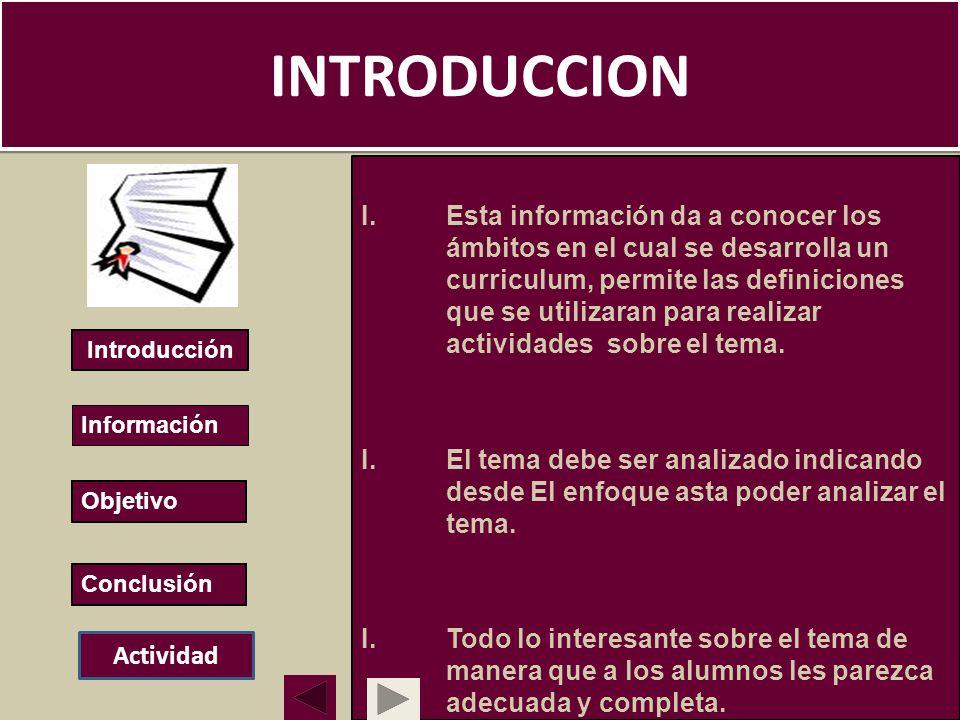 INTRODUCCION I.Esta información da a conocer los ámbitos en el cual se desarrolla un curriculum, permite las definiciones que se utilizaran para reali