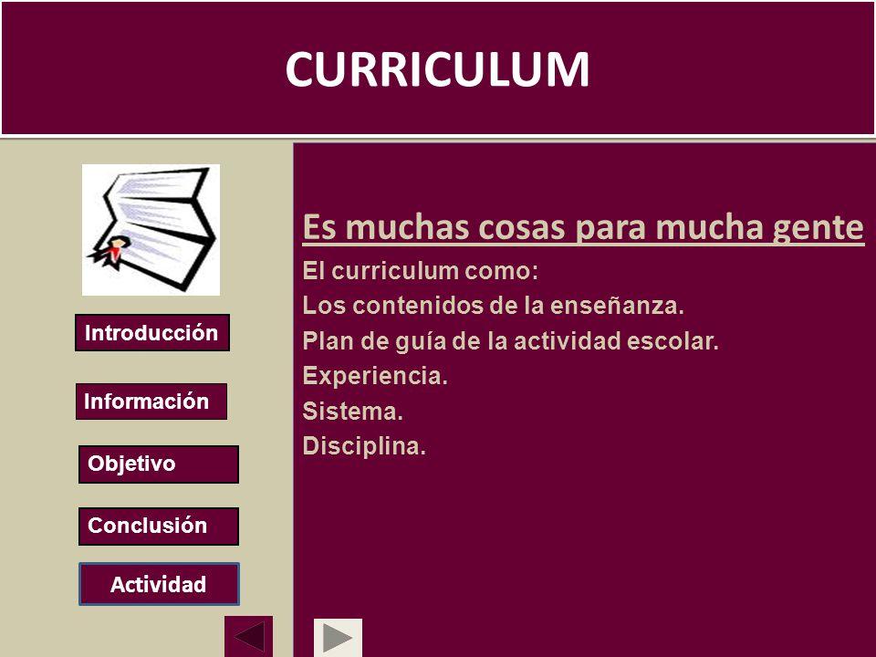 CURRICULUM Es muchas cosas para mucha gente El curriculum como: Los contenidos de la enseñanza. Plan de guía de la actividad escolar. Experiencia. Sis
