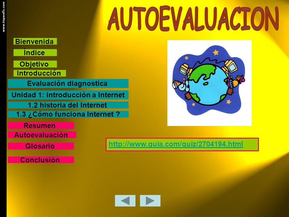 Bienvenida Índice Objetivo Introducción Evaluación diagnostica 1.2 historia del Internet 1.3 ¿Cómo funciona Internet ? Conclusión Resumen Glosario Uni