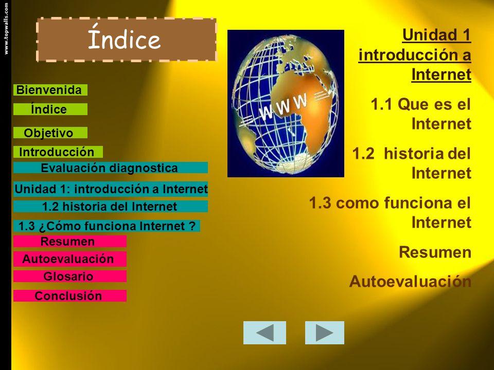 Unidad 1 introducción a Internet 1.1 Que es el Internet 1.2 historia del Internet 1.3 como funciona el Internet Resumen Autoevaluación Índice Bienveni