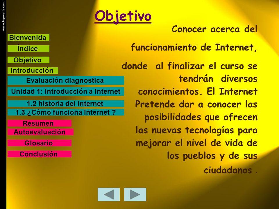 Objetivo Conocer acerca del funcionamiento de Internet, donde al finalizar el curso se tendrán diversos conocimientos. El Internet Pretende dar a cono