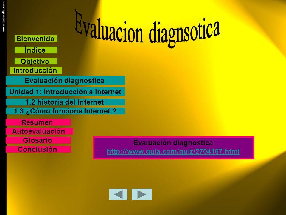 Bienvenida Índice Objetivo Introducción Evaluación diagnostica Unidad 1: introducción a Internet 1.2 historia del Internet 1.3 ¿Cómo funciona Internet
