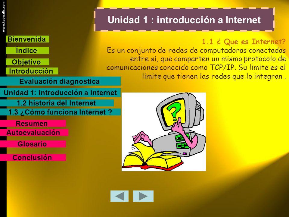 Unidad 1 : introducción a Internet 1.1 ¿ Que es Internet? Es un conjunto de redes de computadoras conectadas entre si, que comparten un mismo protocol