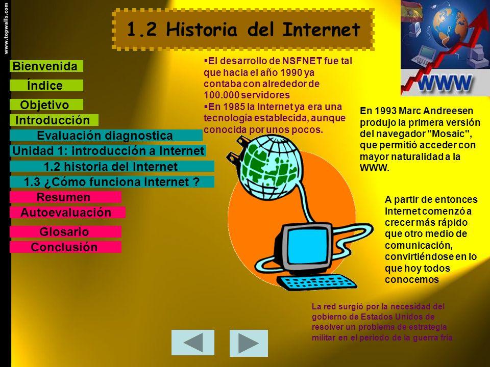 1.2 Historia del Internet La red surgió por la necesidad del gobierno de Estados Unidos de resolver un problema de estrategia militar en el periodo de