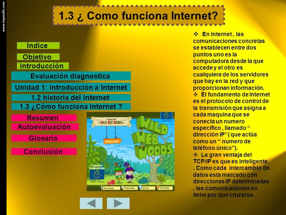 1.3 ¿ Como funciona Internet? En Internet, las comunicaciones concretas se establecen entre dos puntos uno es la computadora desde la que accede y el