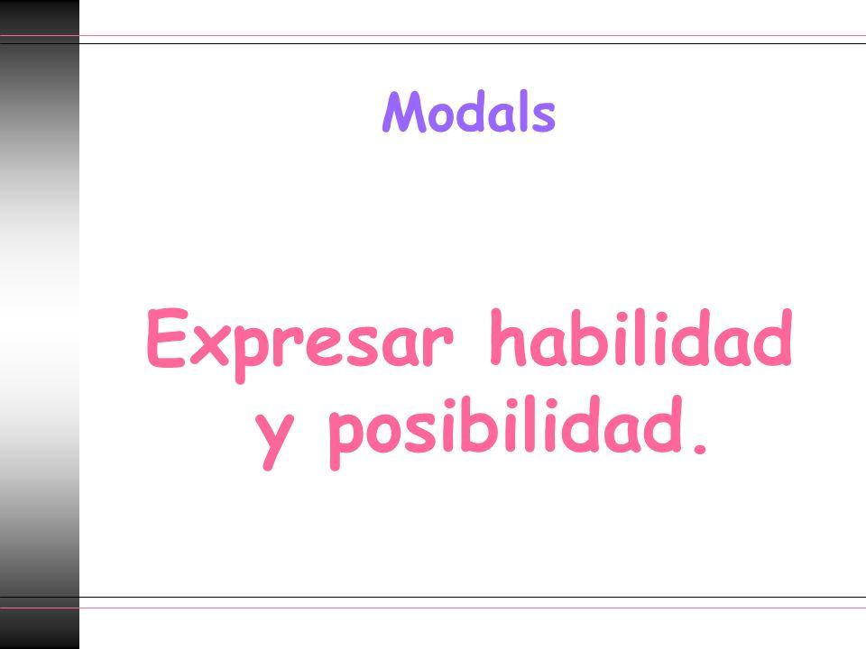 Modals Expresar habilidad y posibilidad.