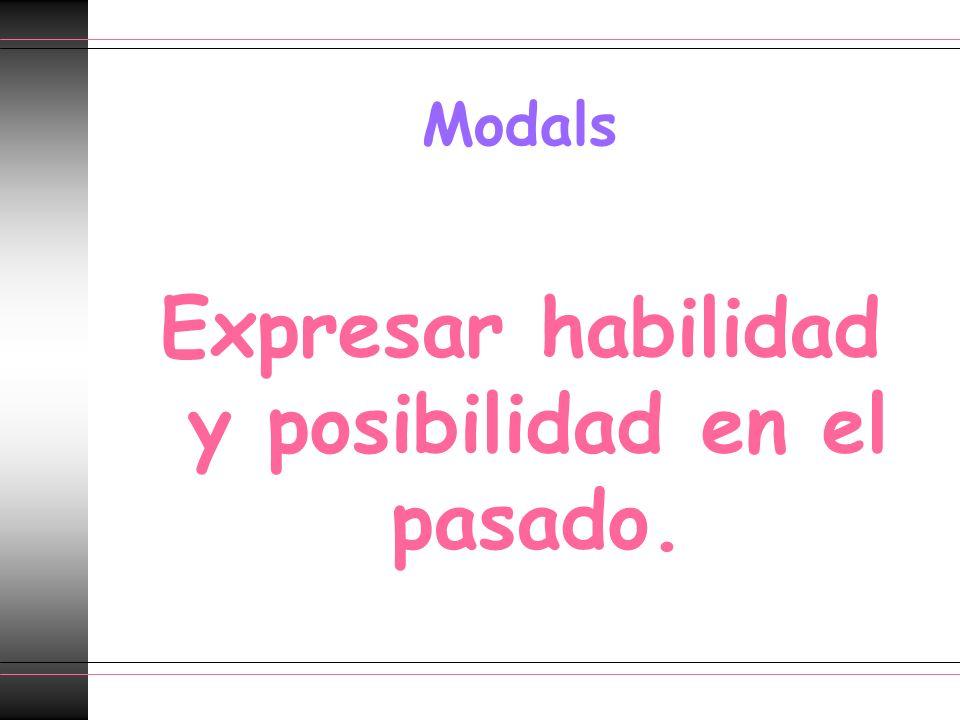 Modals Expresar habilidad y posibilidad en el pasado.