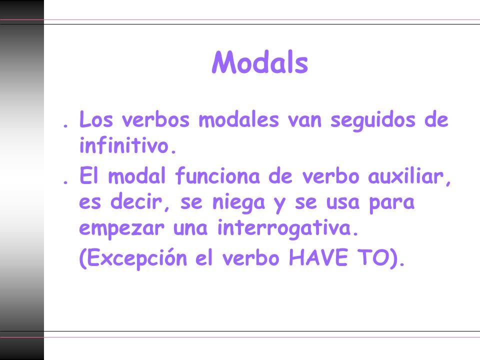 Modals. Los verbos modales van seguidos de infinitivo.. El modal funciona de verbo auxiliar, es decir, se niega y se usa para empezar una interrogativ