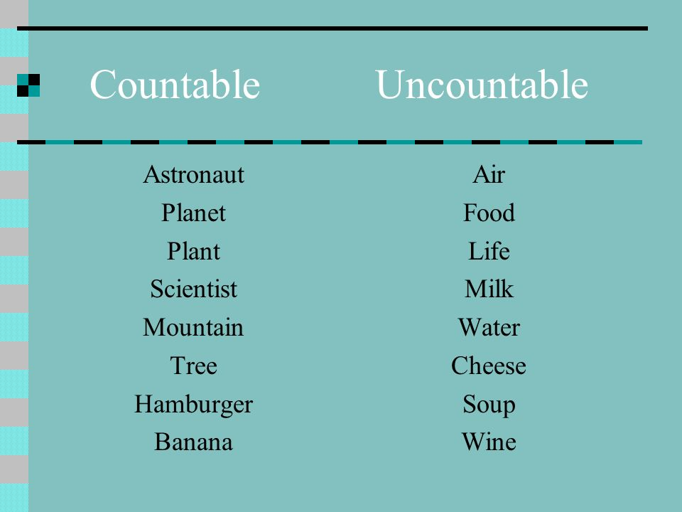 Countable Uncountable Astronaut Planet Plant Scientist Mountain Tree Hamburger Banana Air Food Life Milk Water Cheese Soup Wine