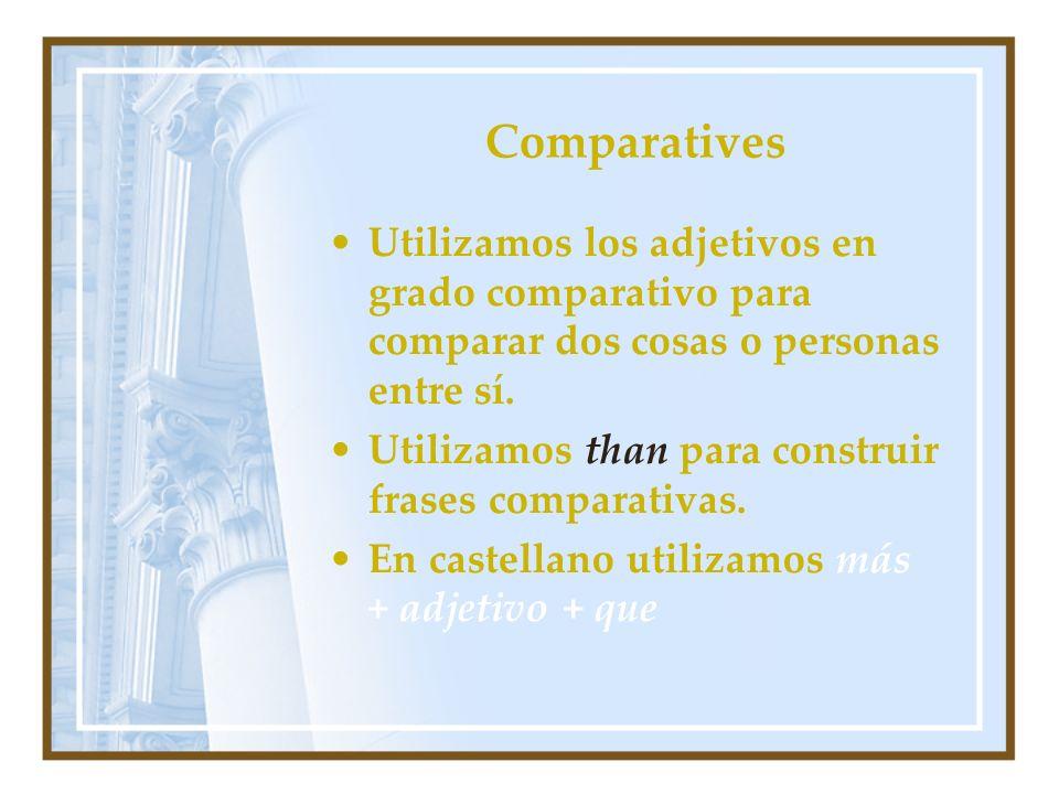 Comparatives Utilizamos los adjetivos en grado comparativo para comparar dos cosas o personas entre sí. Utilizamos than para construir frases comparat
