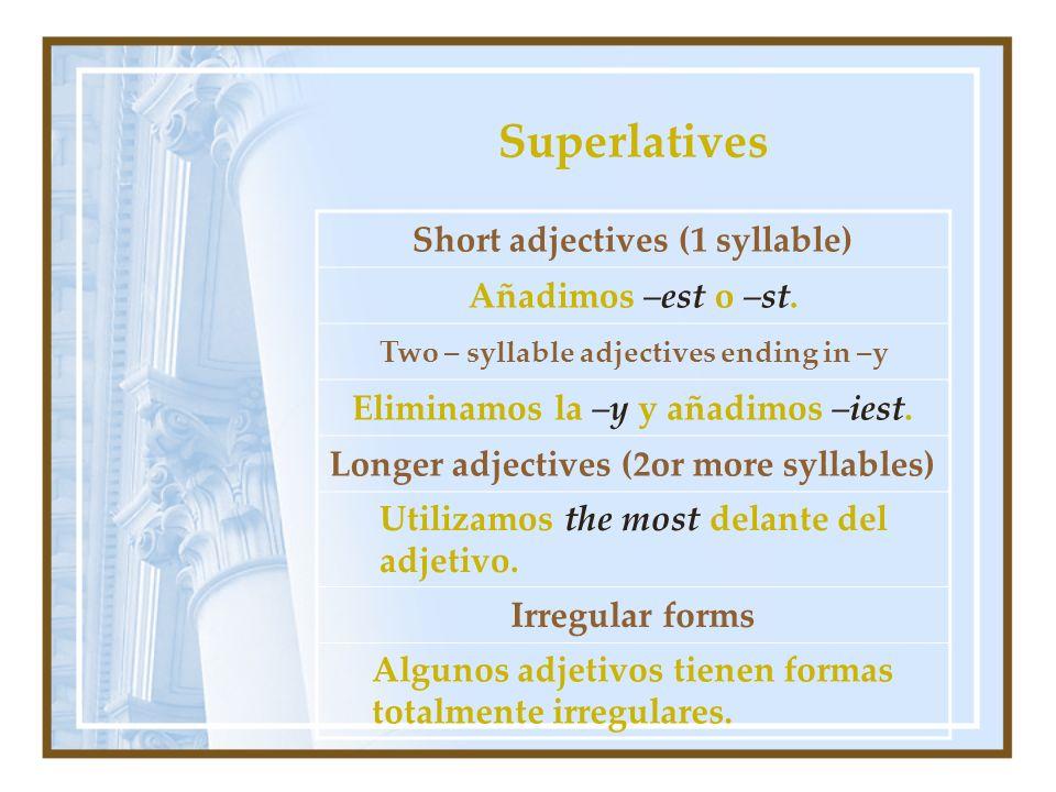 Superlatives Short adjectives (1 syllable) Añadimos –est o –st. Two – syllable adjectives ending in –y Eliminamos la –y y añadimos –iest. Longer adjec