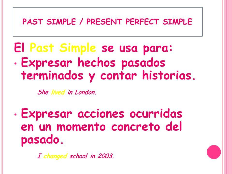 El Past Simple se utiliza con: when Expresiones temporales: yesterday, last night, last week, at two o clock, on Saturday, in 1998, a month ago,…