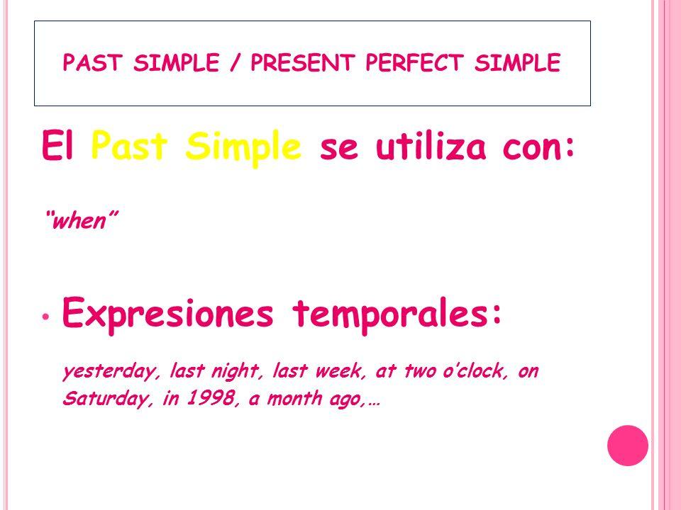 PAST SIMPLE / PRESENT PERFECT SIMPLE El Present Perfect Simple se usa para: Acciones que empezaron en el pasado y aún continúan; lleva for y since y se traduce en presente.