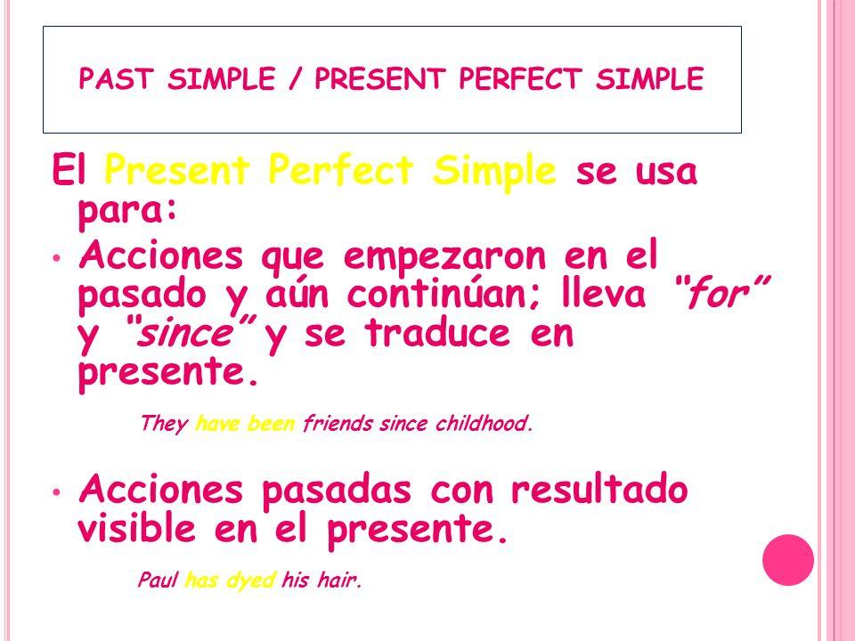 PAST SIMPLE / PRESENT PERFECT SIMPLE El Present Perfect Simple se usa para: Acciones pasadas sin decir cuándo han ocurrido.