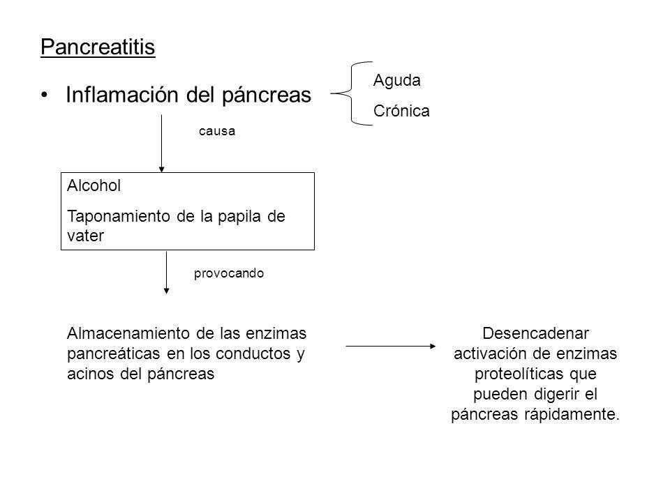 Pancreatitis Inflamación del páncreas Aguda Crónica causa Alcohol Taponamiento de la papila de vater provocando Almacenamiento de las enzimas pancreát