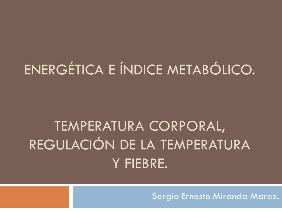 ENERGÉTICA E ÍNDICE METABÓLICO. TEMPERATURA CORPORAL, REGULACIÓN DE LA TEMPERATURA Y FIEBRE. Sergio Ernesto Miranda Marez.