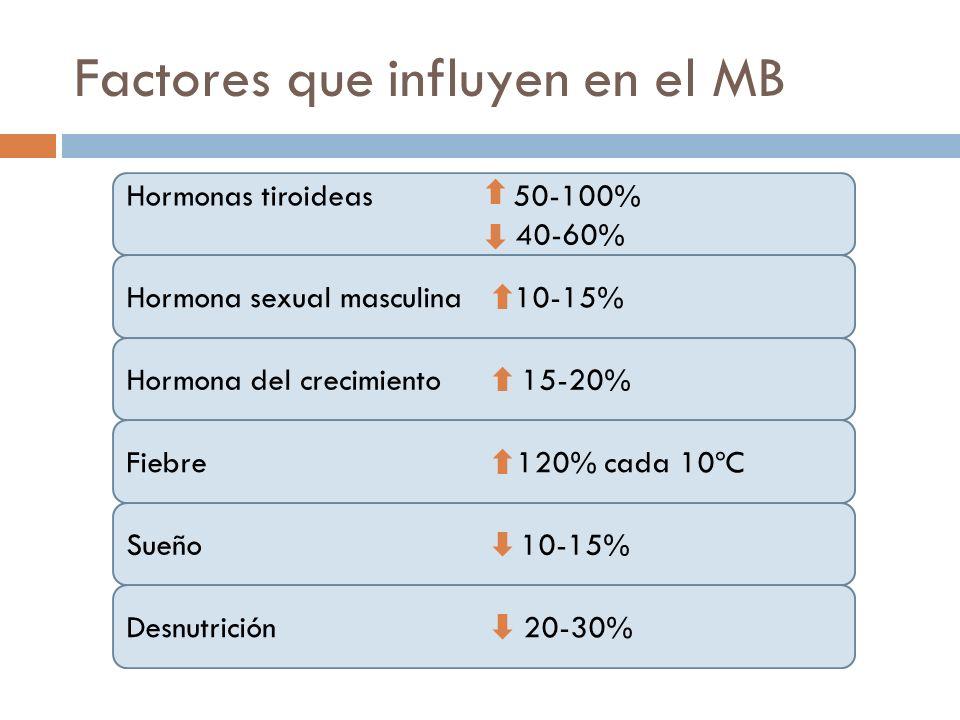 Factores que influyen en el MB Hormonas tiroideas 50-100% 40-60% Hormona sexual masculina 10-15% Hormona del crecimiento 15-20% Fiebre 120% cada 10ºC