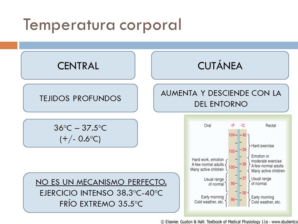 Temperatura corporal CENTRALCUTÁNEA 36ºC – 37.5ºC (+/- 0.6ºC) TEJIDOS PROFUNDOS AUMENTA Y DESCIENDE CON LA DEL ENTORNO NO ES UN MECANISMO PERFECTO. EJ