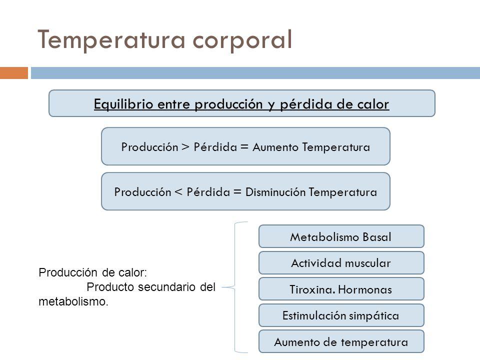 Temperatura corporal Equilibrio entre producción y pérdida de calor Producción > Pérdida = Aumento Temperatura Producción < Pérdida = Disminución Temp