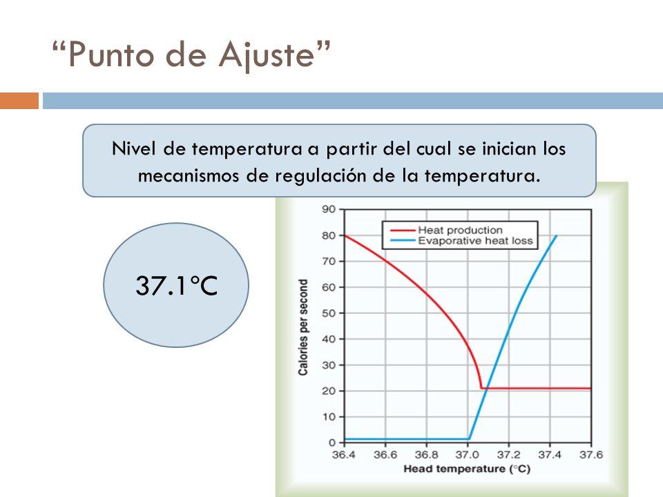 Punto de Ajuste Nivel de temperatura a partir del cual se inician los mecanismos de regulación de la temperatura. 37.1ºC