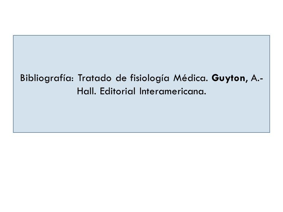 Bibliografía: Tratado de fisiología Médica. Guyton, A.- Hall. Editorial Interamericana.