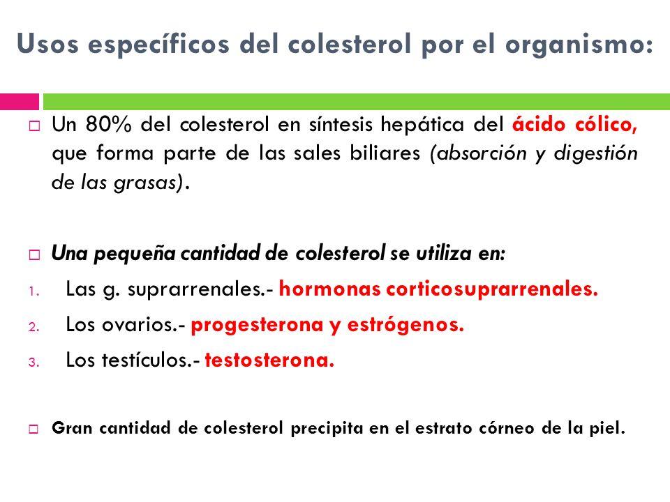 Usos específicos del colesterol por el organismo: Un 80% del colesterol en síntesis hepática del ácido cólico, que forma parte de las sales biliares (