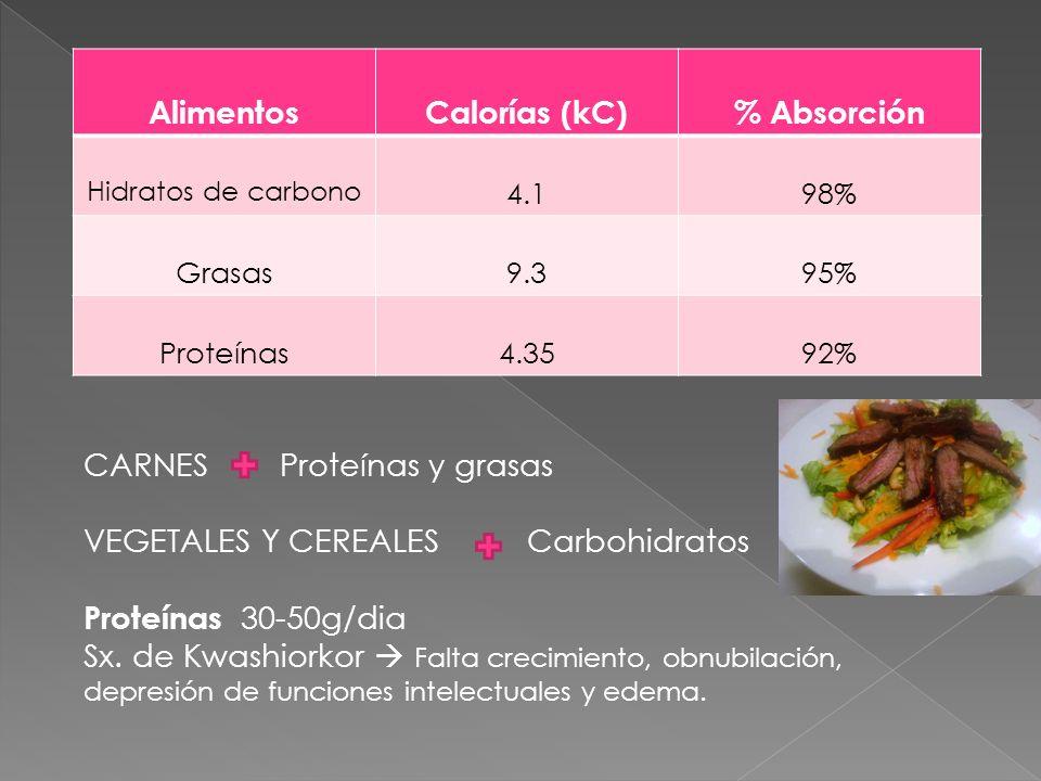 AlimentosCalorías (kC)% Absorción Hidratos de carbono 4.198% Grasas9.395% Proteínas4.3592% CARNES Proteínas y grasas VEGETALES Y CEREALES Carbohidrato