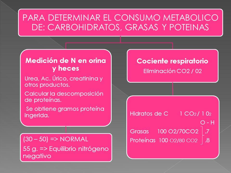 PARA DETERMINAR EL CONSUMO METABOLICO DE: CARBOHIDRATOS, GRASAS Y POTEINAS Medición de N en orina y heces Urea, Ac. Úrico, creatinina y otros producto