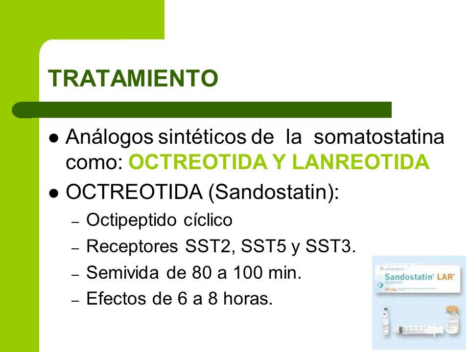TRATAMIENTO Análogos sintéticos de la somatostatina como: OCTREOTIDA Y LANREOTIDA OCTREOTIDA (Sandostatin): – Octipeptido cíclico – Receptores SST2, S