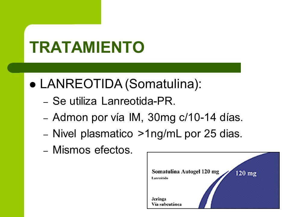 LANREOTIDA (Somatulina): – Se utiliza Lanreotida-PR. – Admon por vía IM, 30mg c/10-14 días. – Nivel plasmatico >1ng/mL por 25 dias. – Mismos efectos.