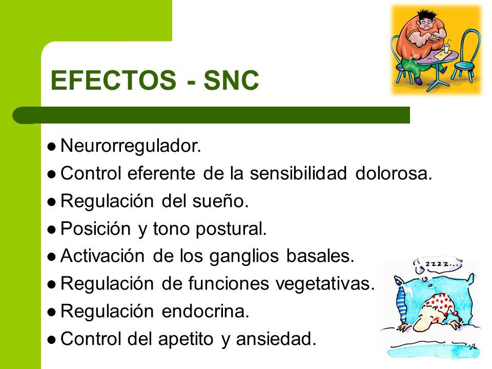EFECTOS - SNC Neurorregulador. Control eferente de la sensibilidad dolorosa. Regulación del sueño. Posición y tono postural. Activación de los ganglio
