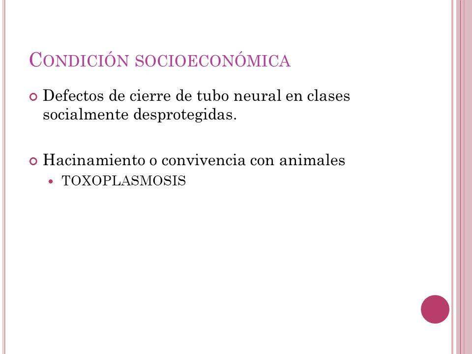 C ONDICIÓN SOCIOECONÓMICA Defectos de cierre de tubo neural en clases socialmente desprotegidas.