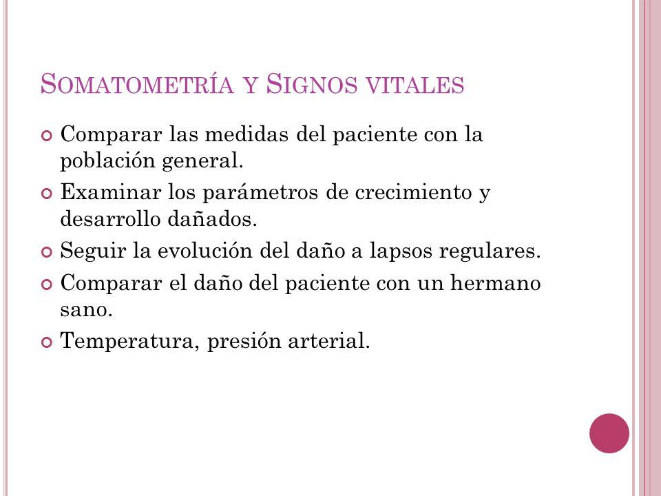 S OMATOMETRÍA Y S IGNOS VITALES Comparar las medidas del paciente con la población general.