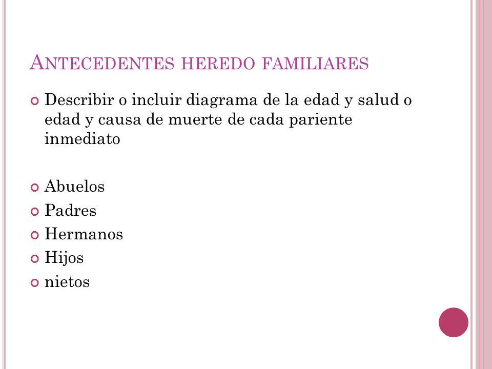 A NTECEDENTES HEREDO FAMILIARES Describir o incluir diagrama de la edad y salud o edad y causa de muerte de cada pariente inmediato Abuelos Padres Hermanos Hijos nietos
