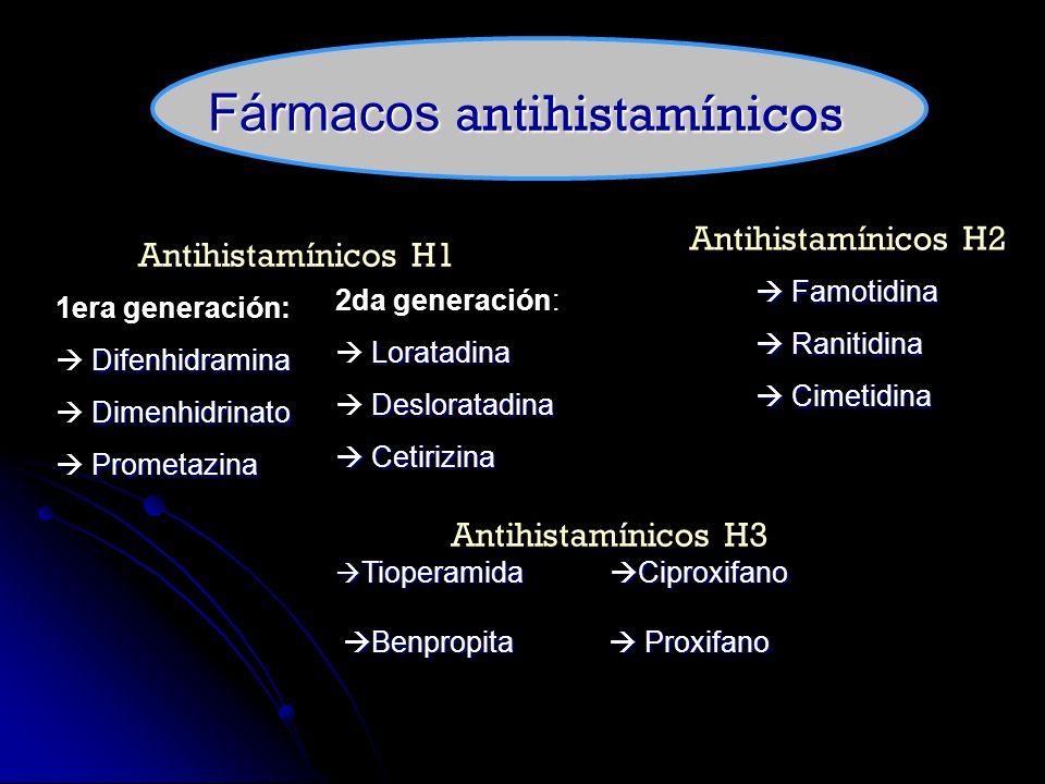 Antihistamínicos H1 1era generación: Difenhidramina Dimenhidrinato Prometazina 2da generación: Loratadina Desloratadina Cetirizina Cetirizina Antihist