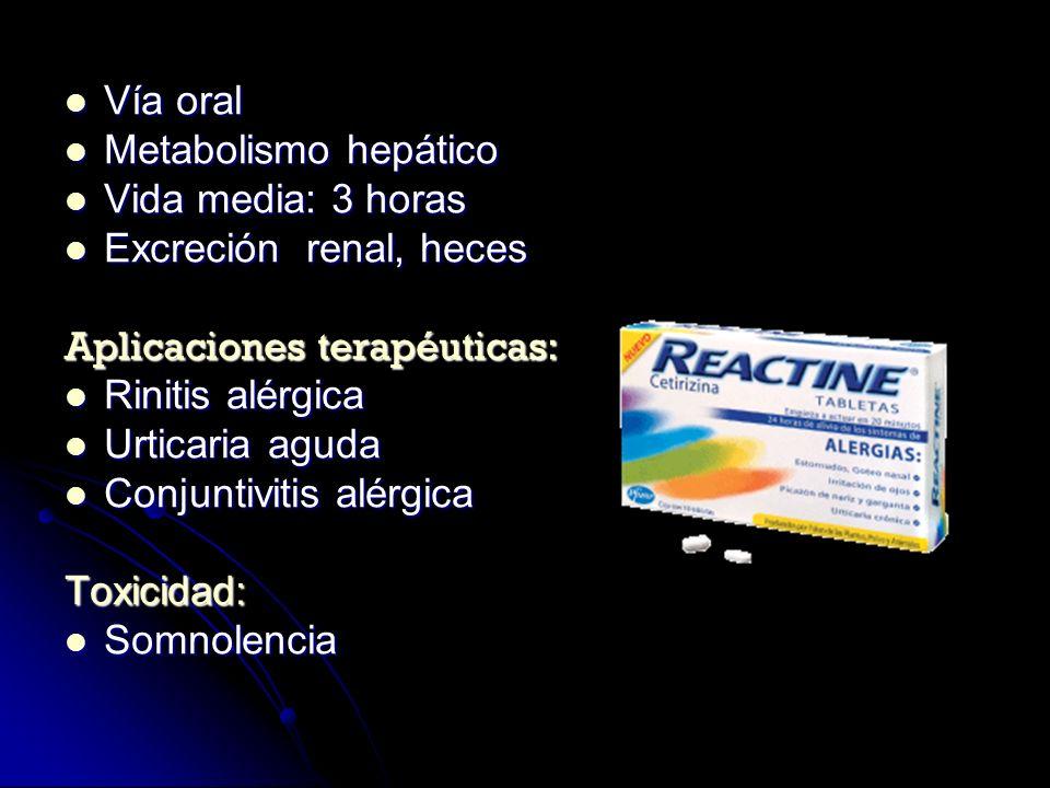 Vía oral Vía oral Metabolismo hepático Metabolismo hepático Vida media: 3 horas Vida media: 3 horas Excreción renal, heces Excreción renal, heces Apli