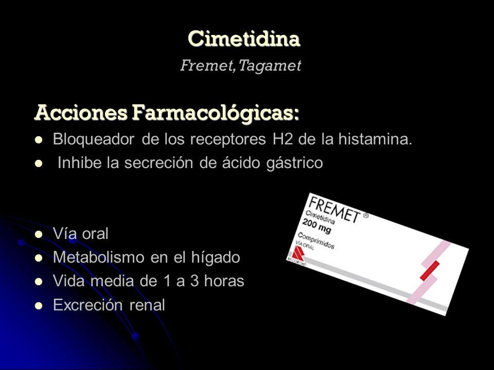 Acciones Farmacológicas: Bloqueador de los receptores H2 de la histamina. Inhibe la secreción de ácido gástrico Vía oral Metabolismo en el hígado Vida