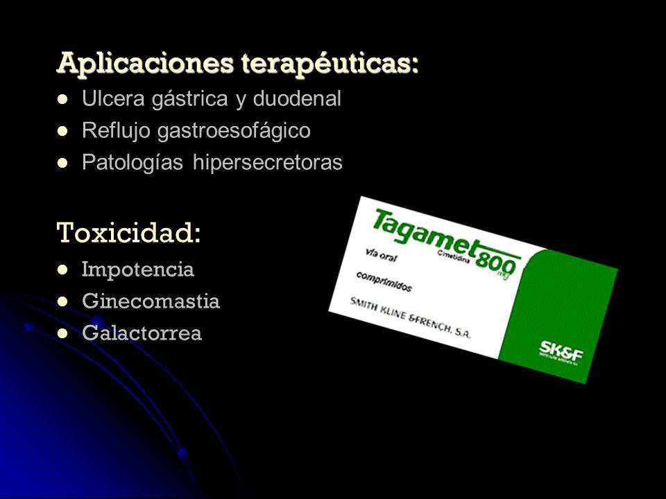 Aplicaciones terapéuticas: Ulcera gástrica y duodenal Reflujo gastroesofágico Patologías hipersecretoras Toxicidad: Impotencia Ginecomastia Galactorre