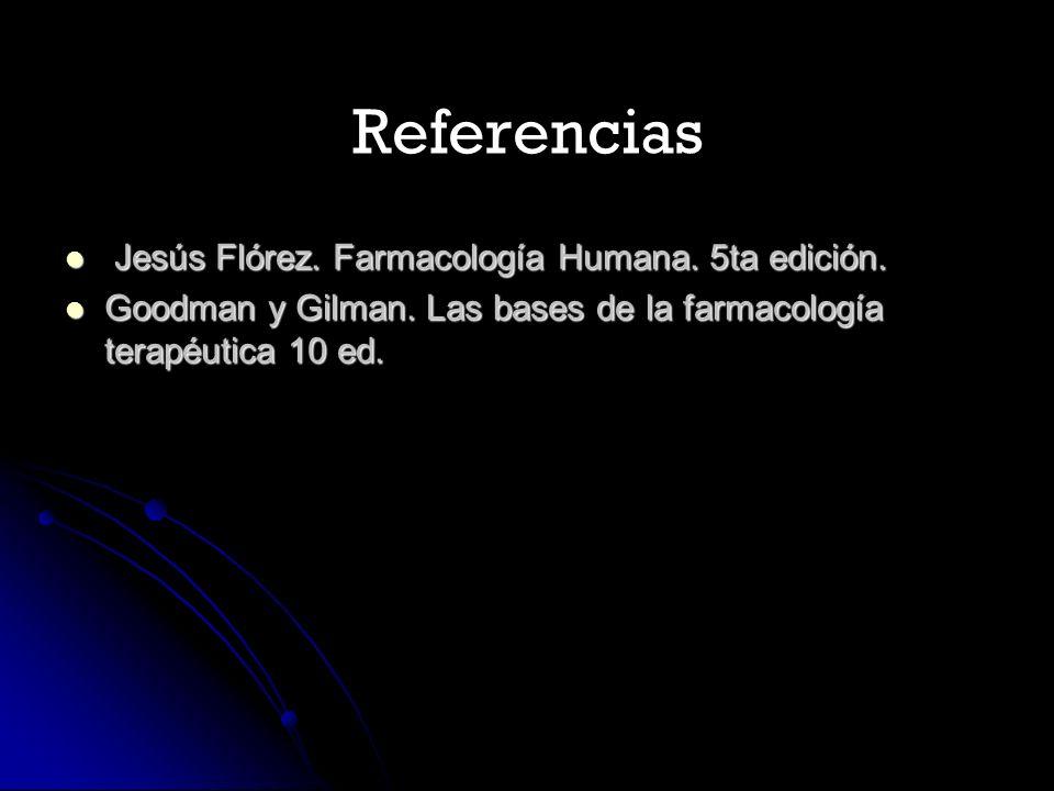 Referencias Jesús Flórez. Farmacología Humana. 5ta edición. Jesús Flórez. Farmacología Humana. 5ta edición. Goodman y Gilman. Las bases de la farmacol