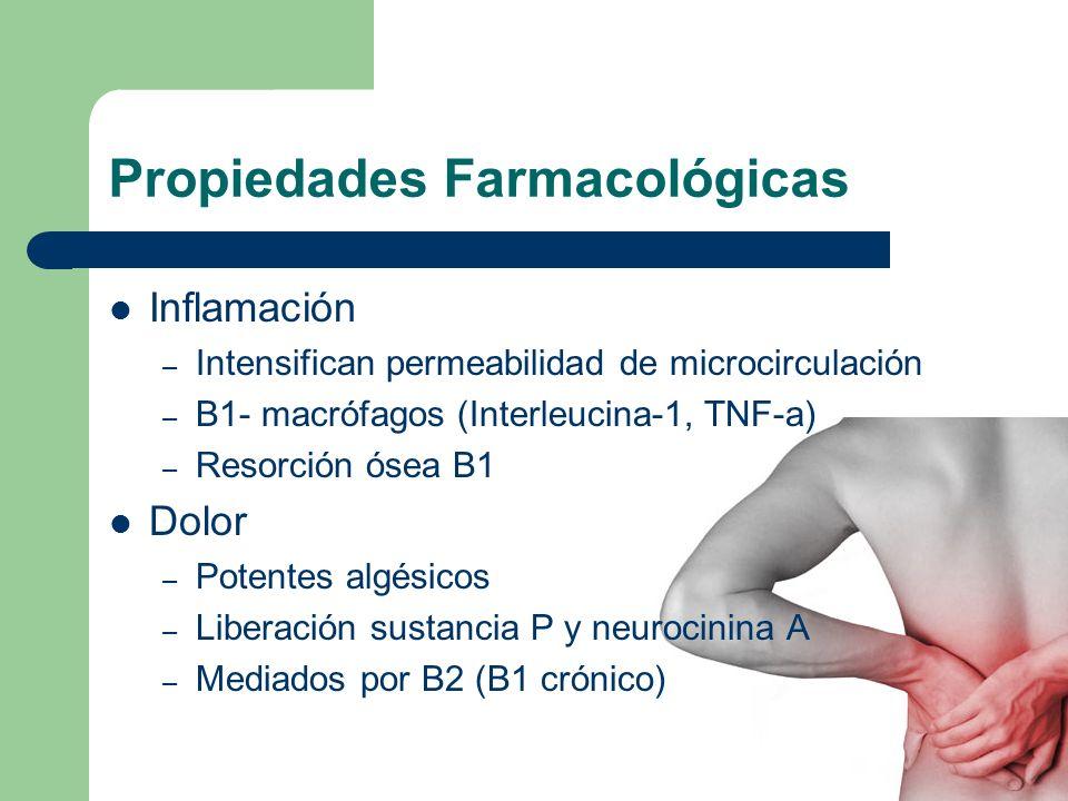 Propiedades Farmacológicas Inflamación – Intensifican permeabilidad de microcirculación – B1- macrófagos (Interleucina-1, TNF-a) – Resorción ósea B1 D