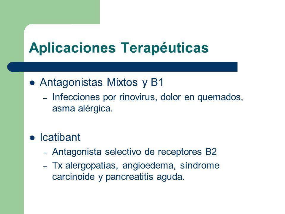 Aplicaciones Terapéuticas Antagonistas Mixtos y B1 – Infecciones por rinovirus, dolor en quemados, asma alérgica. Icatibant – Antagonista selectivo de