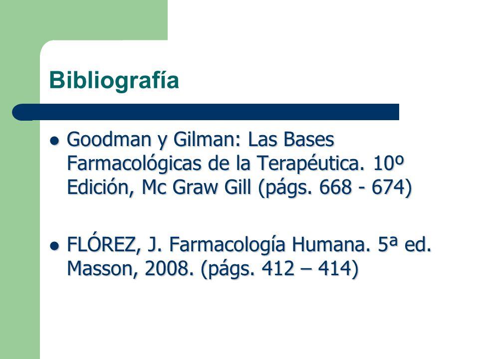 Bibliografía Goodman y Gilman: Las Bases Farmacológicas de la Terapéutica. 10º Edición, Mc Graw Gill (págs. 668 - 674) Goodman y Gilman: Las Bases Far