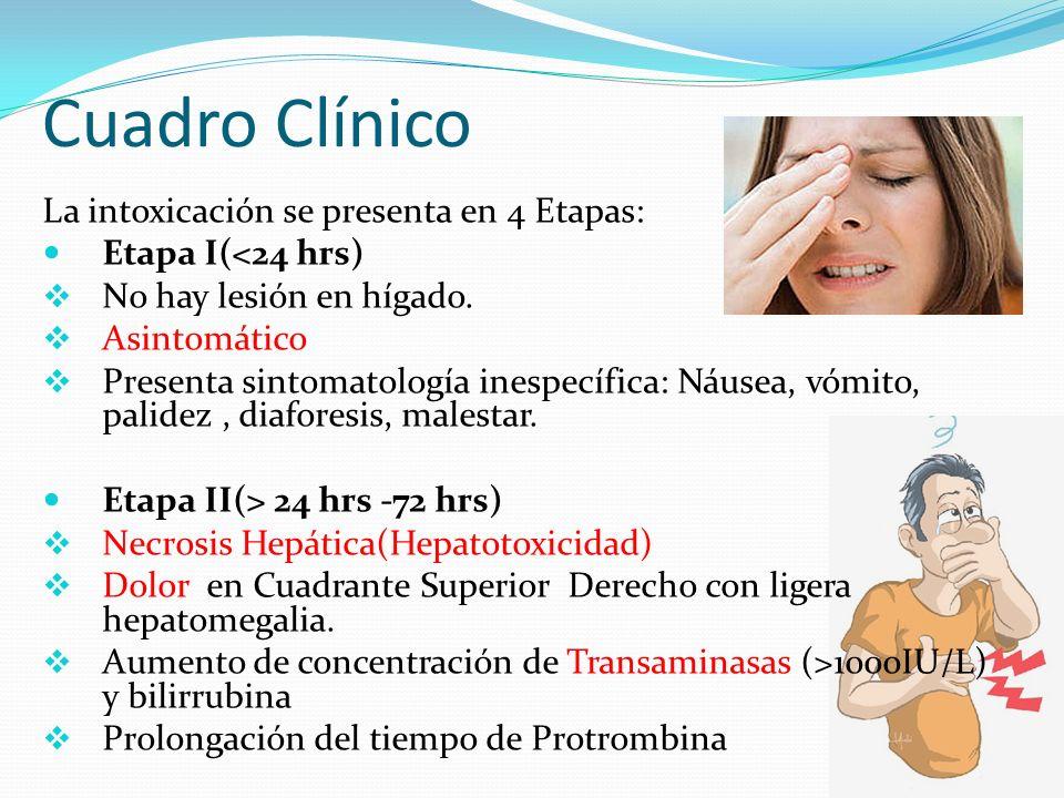 Cuadro Clínico La intoxicación se presenta en 4 Etapas: Etapa I(<24 hrs) No hay lesión en hígado. Asintomático Presenta sintomatología inespecífica: N