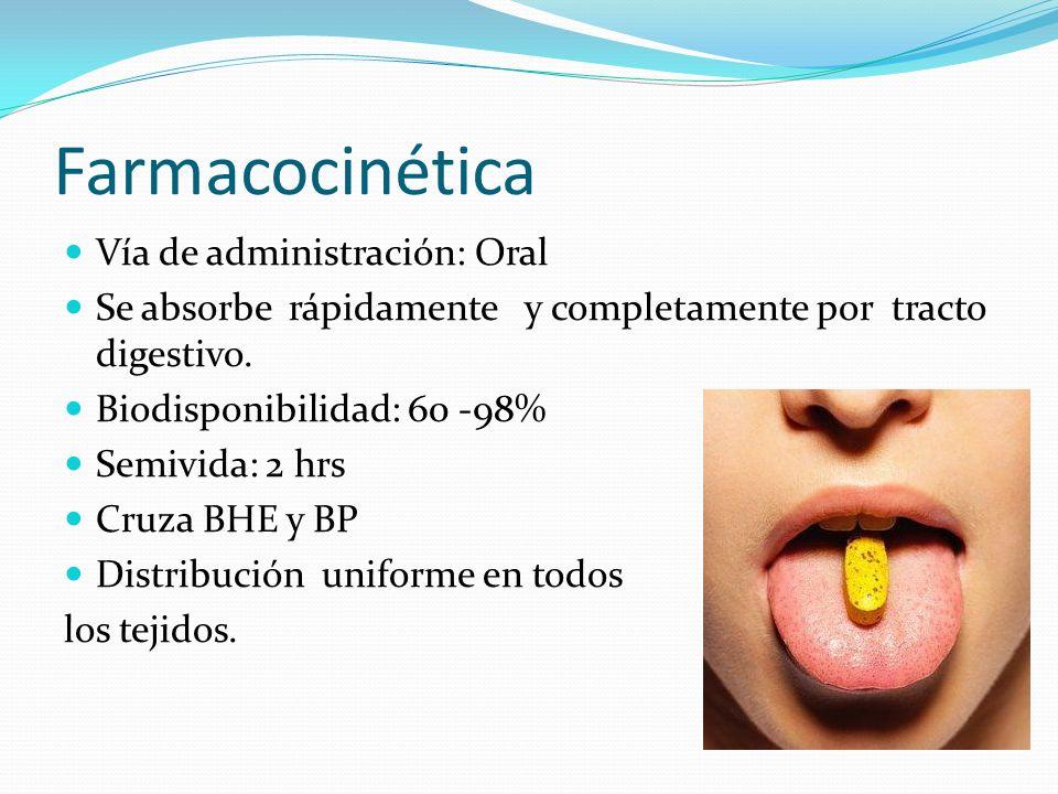 Farmacocinética Vía de administración: Oral Se absorbe rápidamente y completamente por tracto digestivo. Biodisponibilidad: 60 -98% Semivida: 2 hrs Cr