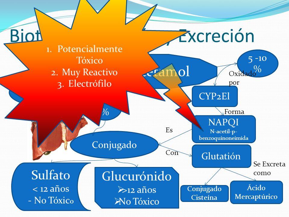 Biotransformación y Excreción Paracetamol Sulfato < 12 años - No Tóxic o Glucurónido >12 años No Tóxico Orina 5 -10 % 90 % 5 % Conjugado CYP2El NAPQI