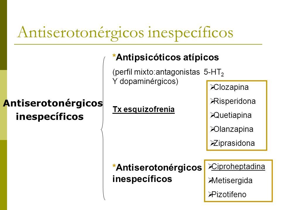 Antiserotonérgicos inespecíficos Antiserotonérgicos inespecíficos *Antipsicóticos atípicos (perfil mixto:antagonistas 5-HT 2 Y dopaminérgicos) Tx esqu
