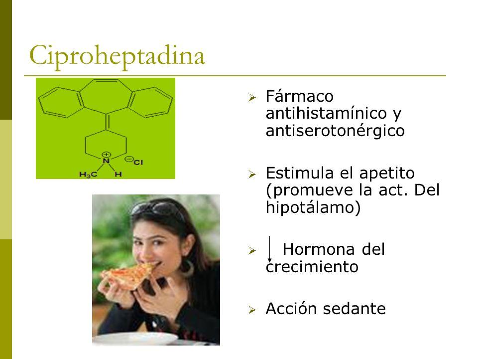 Ciproheptadina Fármaco antihistamínico y antiserotonérgico Estimula el apetito (promueve la act. Del hipotálamo) Hormona del crecimiento Acción sedant