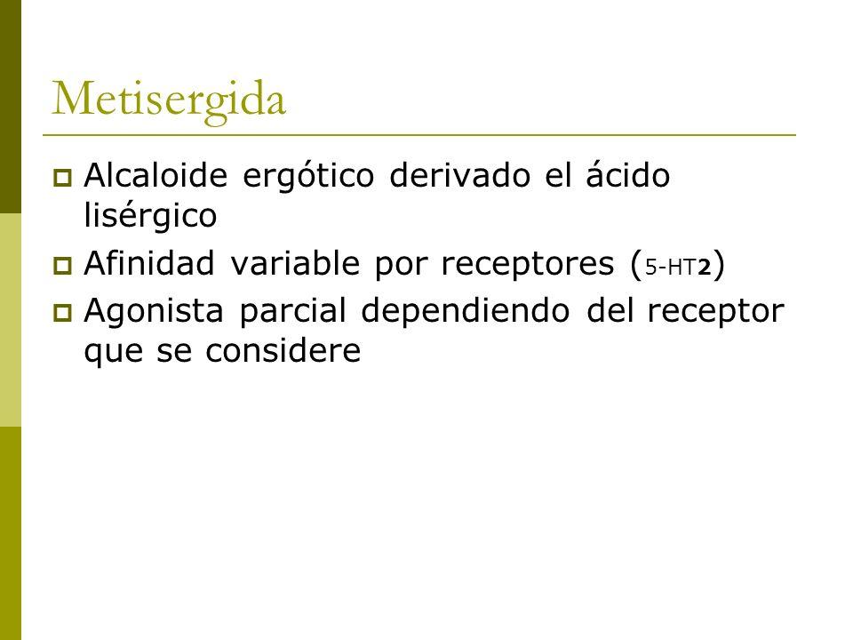 Metisergida Alcaloide ergótico derivado el ácido lisérgico Afinidad variable por receptores ( 5-HT2 ) Agonista parcial dependiendo del receptor que se
