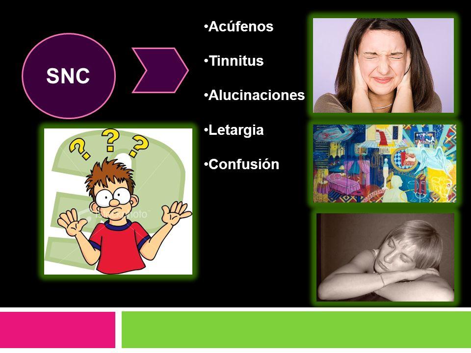 Acúfenos Tinnitus Alucinaciones Letargia Confusión SNC